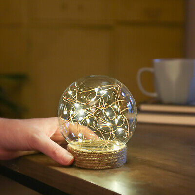 Battery Power Light Up Glass Globe Dome With LED Firefly Lights   Home Wedding • 8.99£