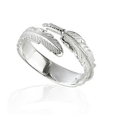 925 Sterling Silver Angel Wing Feather  Adjustable Ring   Size L-R Gift Boxed • 8.99£