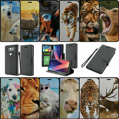 AU14.62 • Buy For LG V30 (2017) Wallet Card & Kickstand Case With Magentic Snap Animals