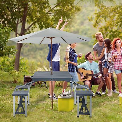 Picnic Table 4 Seat Chair Set Portable Foldable Suitcase Outdoor BBQ Party • 36.99£