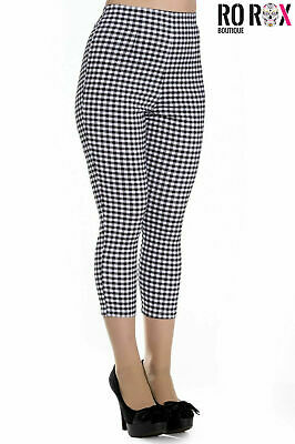 £19.99 • Buy Hell Bunny Judy Checked 50s Vintage Capri Trousers 3/4 Length Pedal Pushers