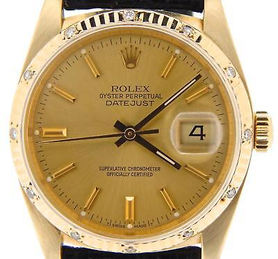 $ CDN10558.81 • Buy Mens Rolex Solid 18k Yellow Gold Datejust Watch Diamond Fluted Champagne 16018