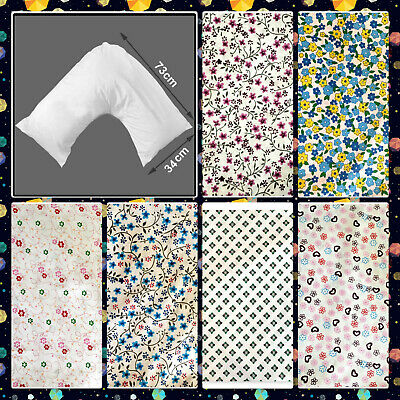Polycotton Back & Neck Support Printed V Shaped Orthopedic//Pregnency Pilowcase • 4.55£