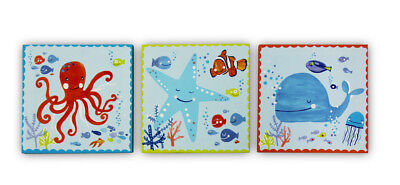 UNDERWATER Sea Life Fish Set 3 Canvas Wall Art Pictures Home Decor Boys Bedroom • 12.99£