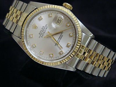 $ CDN6621.05 • Buy Mens Rolex Datejust Yellow Gold Stainless Steel Watch Silver Diamond Dial 16013