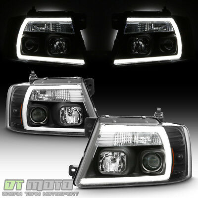 $225.99 • Buy Black 2004-2008 Ford F150 F-150 LED Light Tube Projector Headlights Headlamps