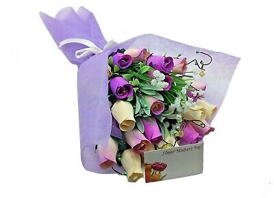 Deluxe Wooden Roses Bouquet - Lilac • 11.99£