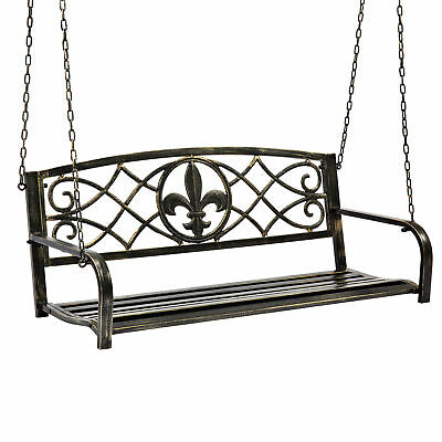 $119.99 • Buy BCP Outdoor Metal Hanging 2-Person Swing Bench W/ Fleur-de-Lis Accents