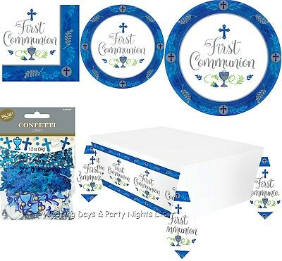 Boys Blue 1st First Holy Communion Party Tableware Plates Napkins Decorations • 3.89£