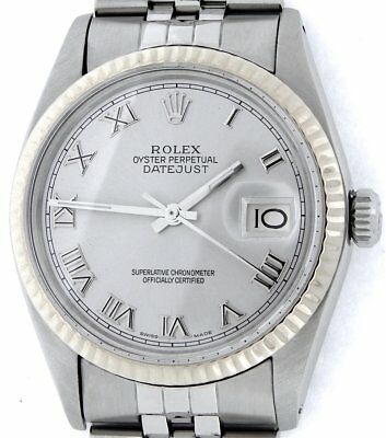 $ CDN6737.21 • Buy Mens Rolex Datejust Stainless Steel 18K White Gold Watch Silver Roman Dial 16014