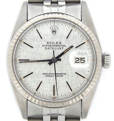 $ CDN5619.14 • Buy Mens Rolex Datejust Stainless Steel/18K White Gold Watch Silver Linen Dial 16014