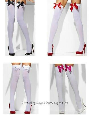 Smiffys Sexy White Hold-Ups Bow Top Stockings Ladies Fancy Dress Halloween Xmas • 3.95£