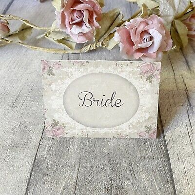 £3.50 • Buy Wedding Table Guest Place Name Cards - Shabby Rose Vintage Style - Set Of 10 🌹
