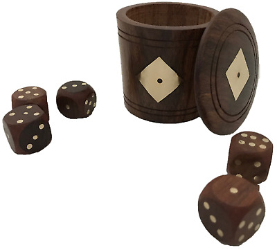 £7.90 • Buy New Hand Made Wooden Dice Cup Shaker Pot With Dice - Uk Seller - Fast Postage