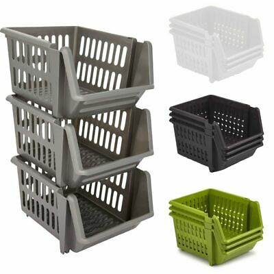 £6.79 • Buy Set Of 3 Stackable Storage Basket Kitchen Fruit Vegetable Stacking Container Box