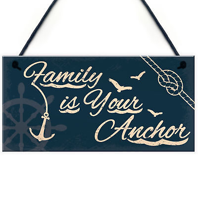 £3.99 • Buy Seaside Family Is Your Anchor Shabby Chic Hanging Plaque Nautical Themed Decor