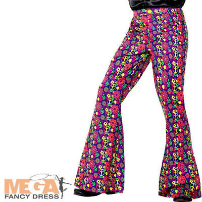 £14.99 • Buy 60s Psychedelic CND Flared Trousers Mens Fancy Dress Peace Adults Costume Pants
