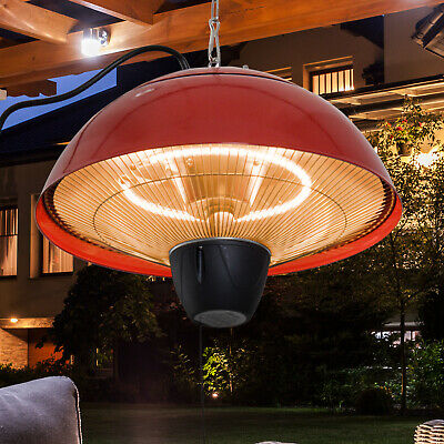 Patio Heater Hanging Ceiling Outdoor 1500W Halogen Gazebo Aluminium Red • 44.99£