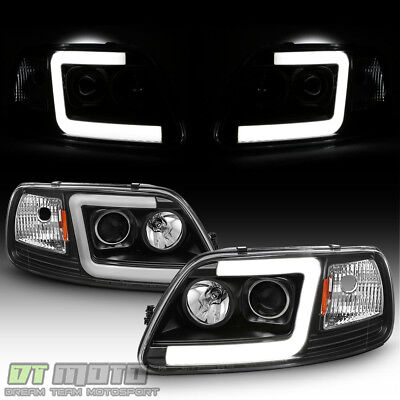 $198.99 • Buy Blk 1997-2003 Ford F150 97-02 Expedition LED Tube Projector Headlights Headlamps