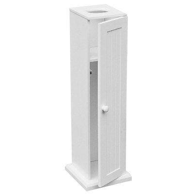 White Wood Toilet Paper Floor Standing Bathroom Storage Cabinet With Door New • 27.99£