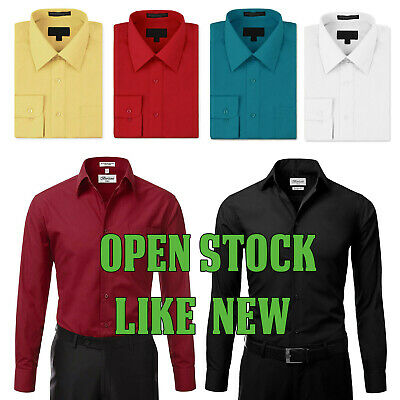 $11.99 • Buy New Open Box Repackaged Men's Long Sleeve Solid Dress Shirts Multiple Colors