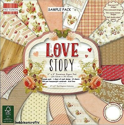 £2.85 • Buy LOVE STORY Dovecraft 8 X 8 Sample Paper Pack - 16 Sheets Floral Hearts Tags