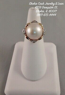 $549.95 • Buy 14kt Yellow Gold 16mm Mabe MOP Pearl Ring