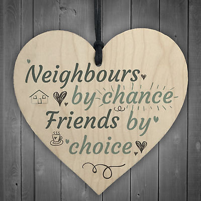 £3.99 • Buy Funny Neighbours By Chance Shabby Chic Wooden Heart Plaque Friendship Great Gift