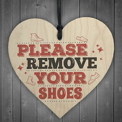 Please Remove Shoes Take Off Porch Hanging Door Sign Wooden Heart Plaque Gifts • 3.99£
