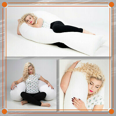 New 12ft Long U-Shape Full Body Pillow,Maternity Support Pillowcase Cream Colour • 5.99£
