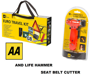 AA Car Euro Travel Kit For Driving Abroad & Life Glass Hammer / Seat Belt Cutter • 29.99£