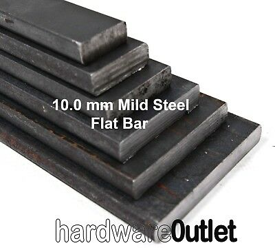 MILD STEEL 10mm Thick FLAT BAR Sheet Plate 8 Sizes & 8 Saw Cut Lengths Available • 6.33£