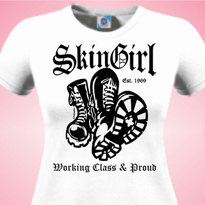 SKINGIRL WORKING CLASS & PROUD - SCOOTER SkA SKINHEAD Rude Girl Ladies T SHIRT  • 10.95£
