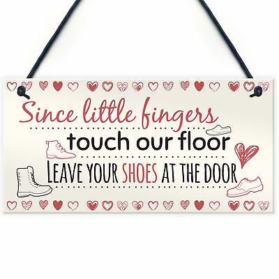 £3.99 • Buy Little Fingers Touch Our Floor Shabby Chic Plaque Home Door Shoes OFF Sign Gifts
