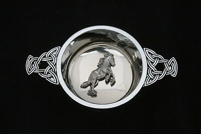 Shire Horse Quaich Scottish Drinking Bowl Pewter Stainless Steel 327 • 32.99£