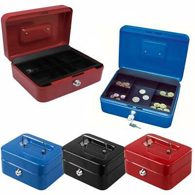 Metal Cash Box Money Bank Deposit Steel Tin Security Safe Petty Key Lockable • 10.99£