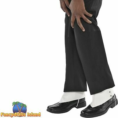SPATS GANGSTER MICHAEL JACKSON SHOE COVERS - Mens Fancy Dress Costume Accessory • 7.49£