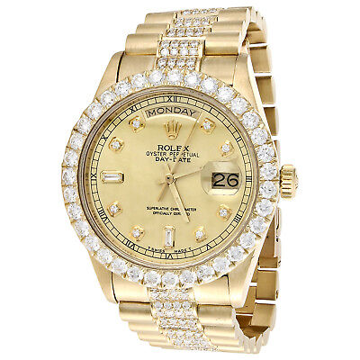 $ CDN28817.34 • Buy 18K Yellow Gold Mens Rolex Presidential Prong Diamond Day-Date 36mm Watch 8 CT.
