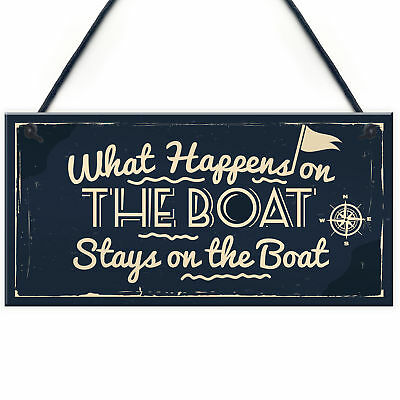 What Happens On The Boat Nautical Decor Shabby Chic Hanging Beach Sign Plaque • 3.99£