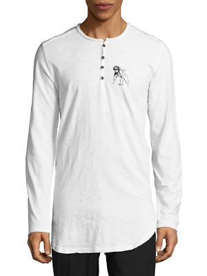 PRPS Goods & Co. Men's Injured Cupid White Heathered Cotton Henley T-Shirt  • 24.53£