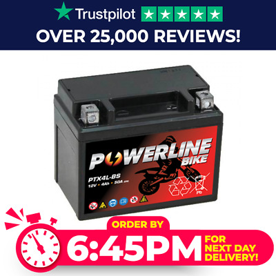 PTX4L-BS Powerline Bike Motorcycle Battery Replaces YTX4L-BS • 18.99£