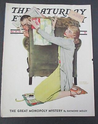 $ CDN24.93 • Buy Norman Rockwell March 30, 1940 Saturday Evening Post Original COVER ONLY