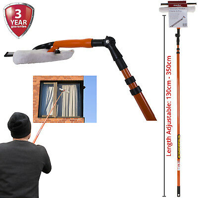 Window Cleaner Telescopic Conservatory Glass Cleaning Kit Squeegee Wiper 3.5M • 14.99£