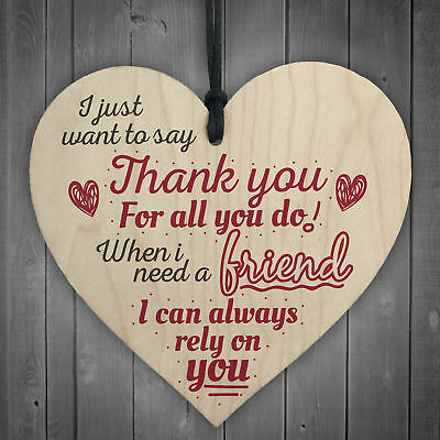 £3.99 • Buy Best Friend Friendship Thank You Love Gifts Wooden Hanging Heart Sign Plaque