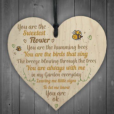 Mum Nan Dad Family Guardian Wood Heart Sign Memorial Gift Angel For Grave Plaque • 3.99£