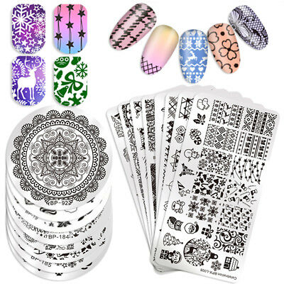 $1.06 • Buy Born Pretty Nail Art Stamping Plates Flower Lace Cat Snowflake Image Templates