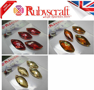 4pcs Authentic Swarovski 6110 30x14mm Navette Pendants - Please Select Colour  • 3.99£