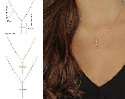 $3.99 • Buy Fast & Furious Women's Gold Or Silver Simple Small Tiny Cross Pendant Necklace