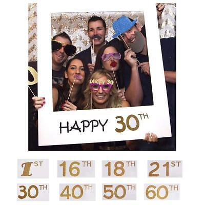 £3.39 • Buy 16/18/30/40/50/60/70/80th 21st Frame Photo Booth Props Happy Birthday Selfie