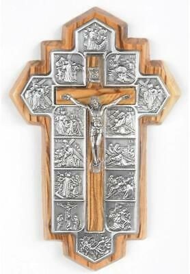Olive Wood Crucifix - Icon Showing 14 Stations Of The Cross Etched On Metal • 15.40£